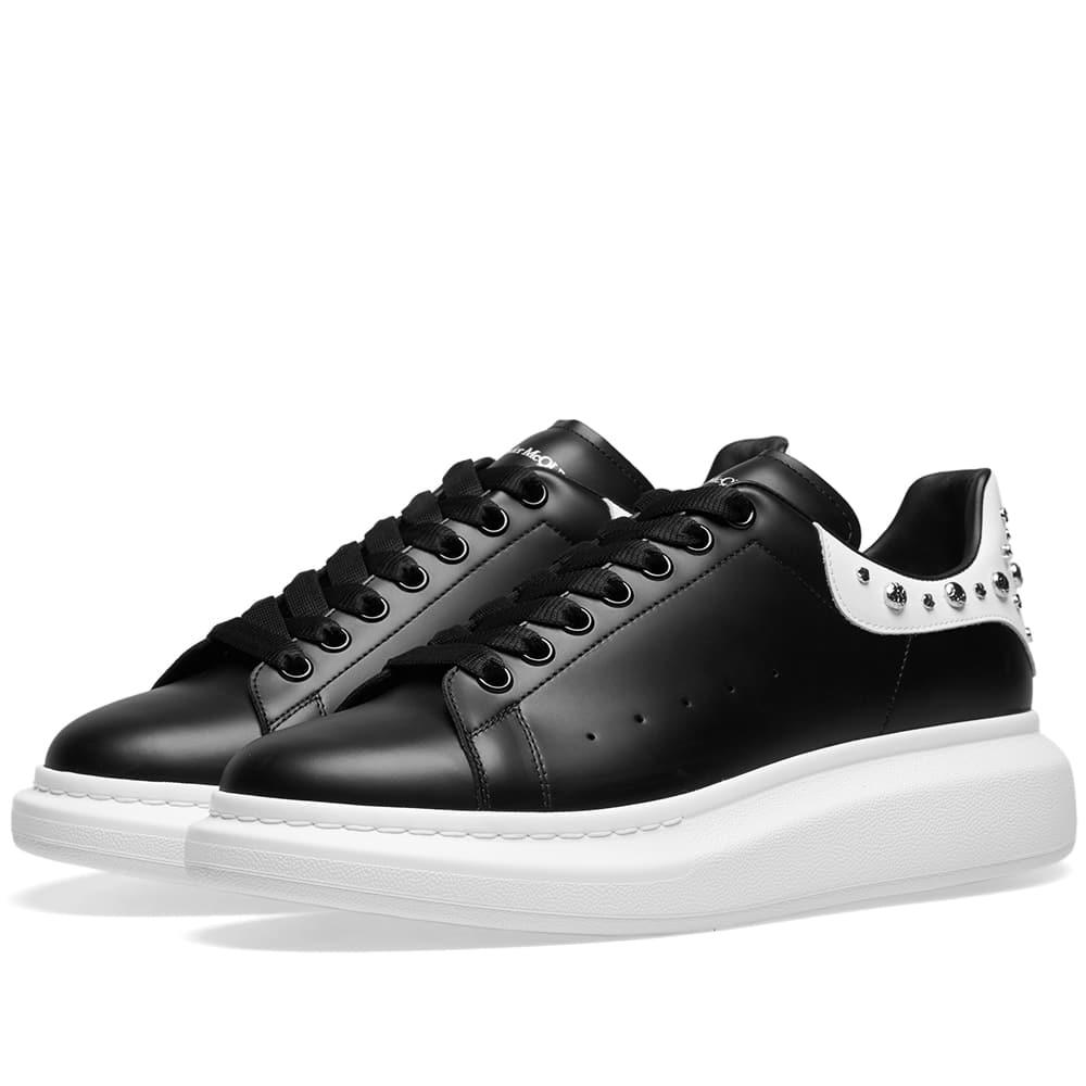 Alexander McQueen Studded Wedge Sole Sneaker Black & White