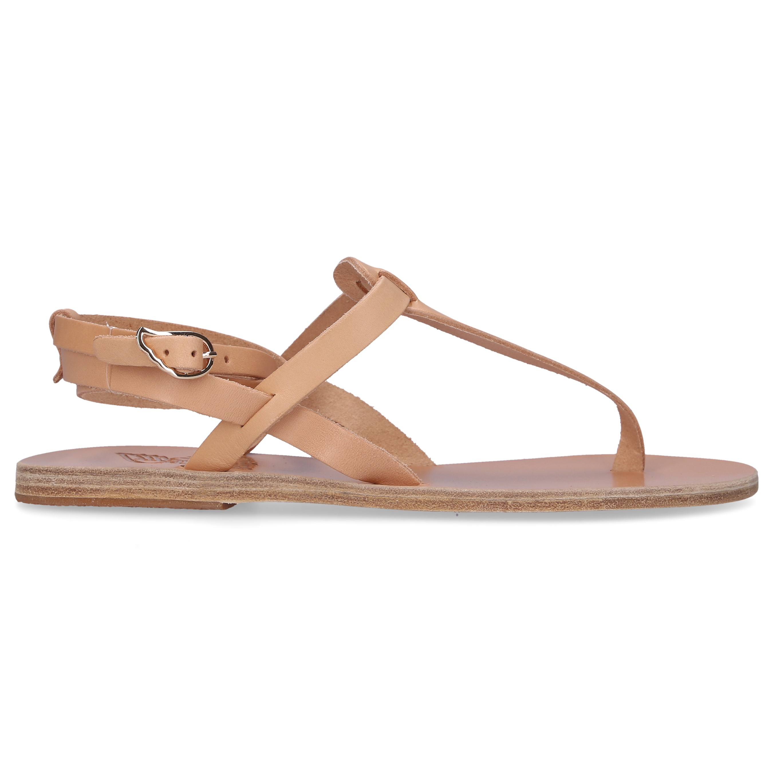Ancient Greek Sandals Zehentrenner ESTIA Kalbsleder Logo natur