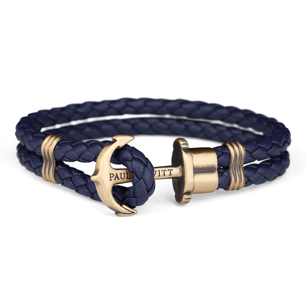 Ankerarmband PHREP Messing Marineblau