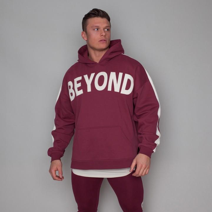 Beyond Limits Men Oversize Hoodie Dunkelrot
