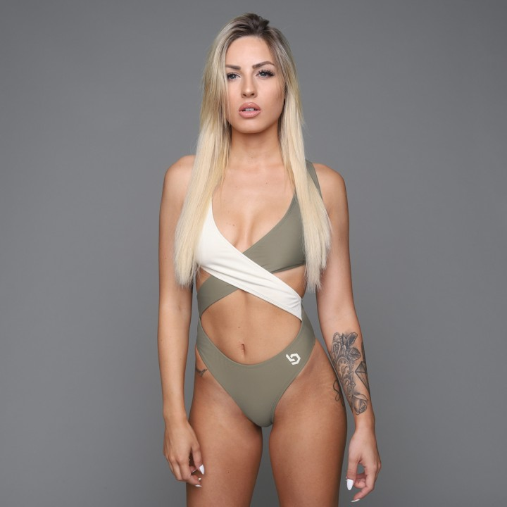 Beyond Limits Two-Tone Swimsuit Khaki-Sand