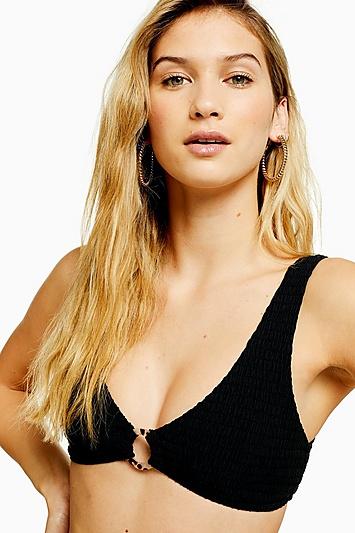 Black Shirred Ring Crop Bikini Top - Schwarz