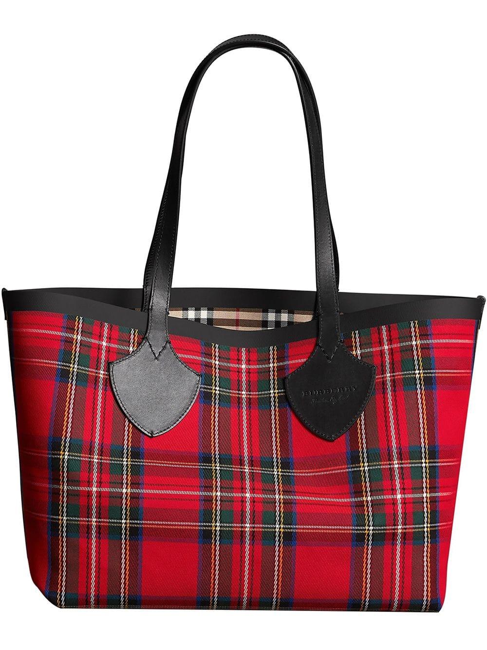 Burberry Karierte 'The Medium' Handtasche - Rot