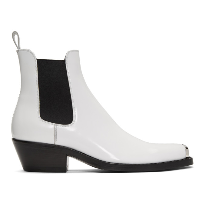 Calvin Klein 205W39NYC White Western Chris Chelsea Boots