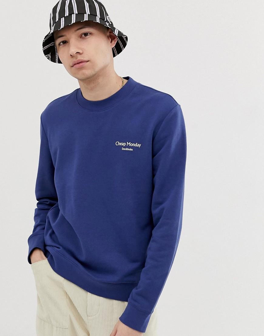 Cheap Monday - Blaues Sweatshirt mit Logo - Blau