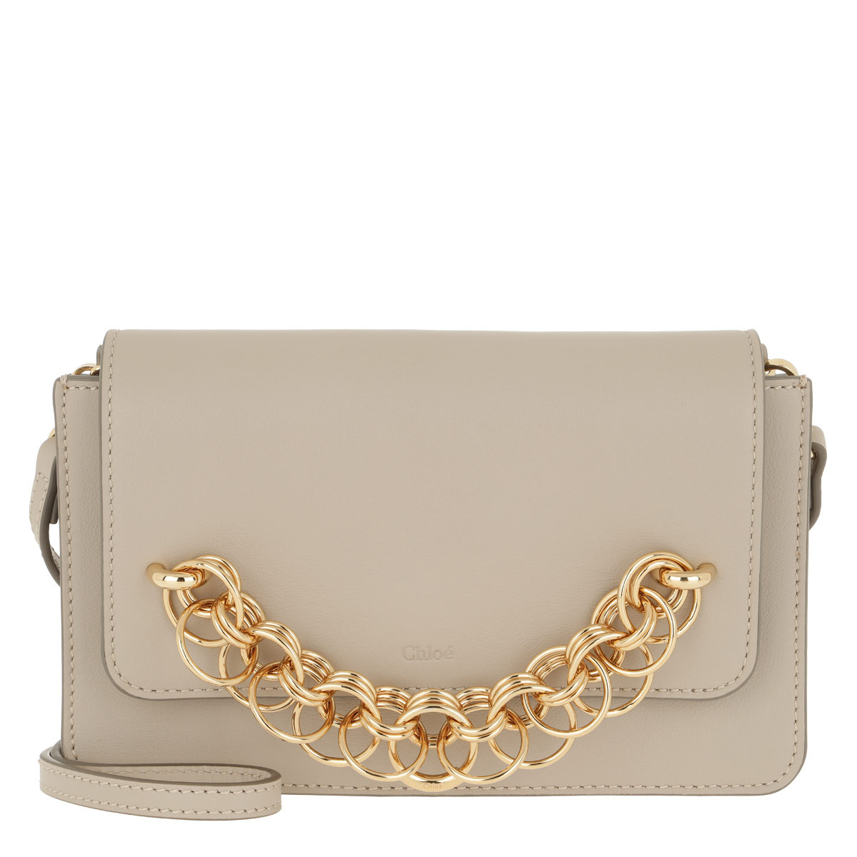 Chloé Clutch - Drew Bijou Clutch Leather Pastel Grey - in beige - für Damen