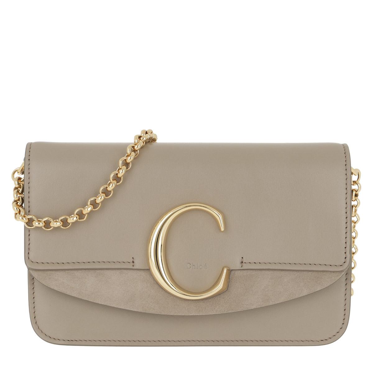 Chloé Umhängetasche - C Clutch With Chain Motty Grey - in beige - für Damen