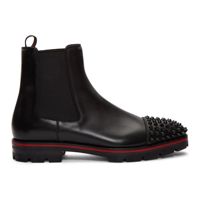 Christian Louboutin Black Melon Spikes Chelsea Boots