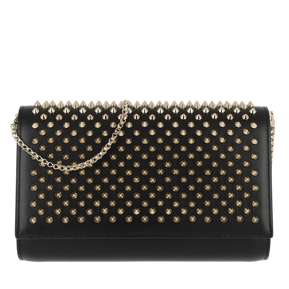 Christian Louboutin Umhängetasche - Paloma Clutch Gold Spikes Leather Black - in schwarz - für Damen