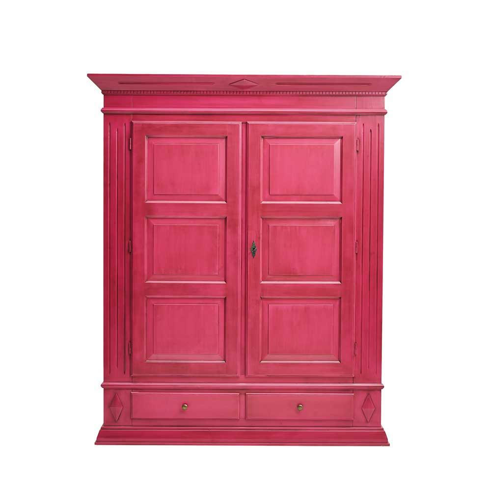 Design Schrank in Pink Fichte Massivholz
