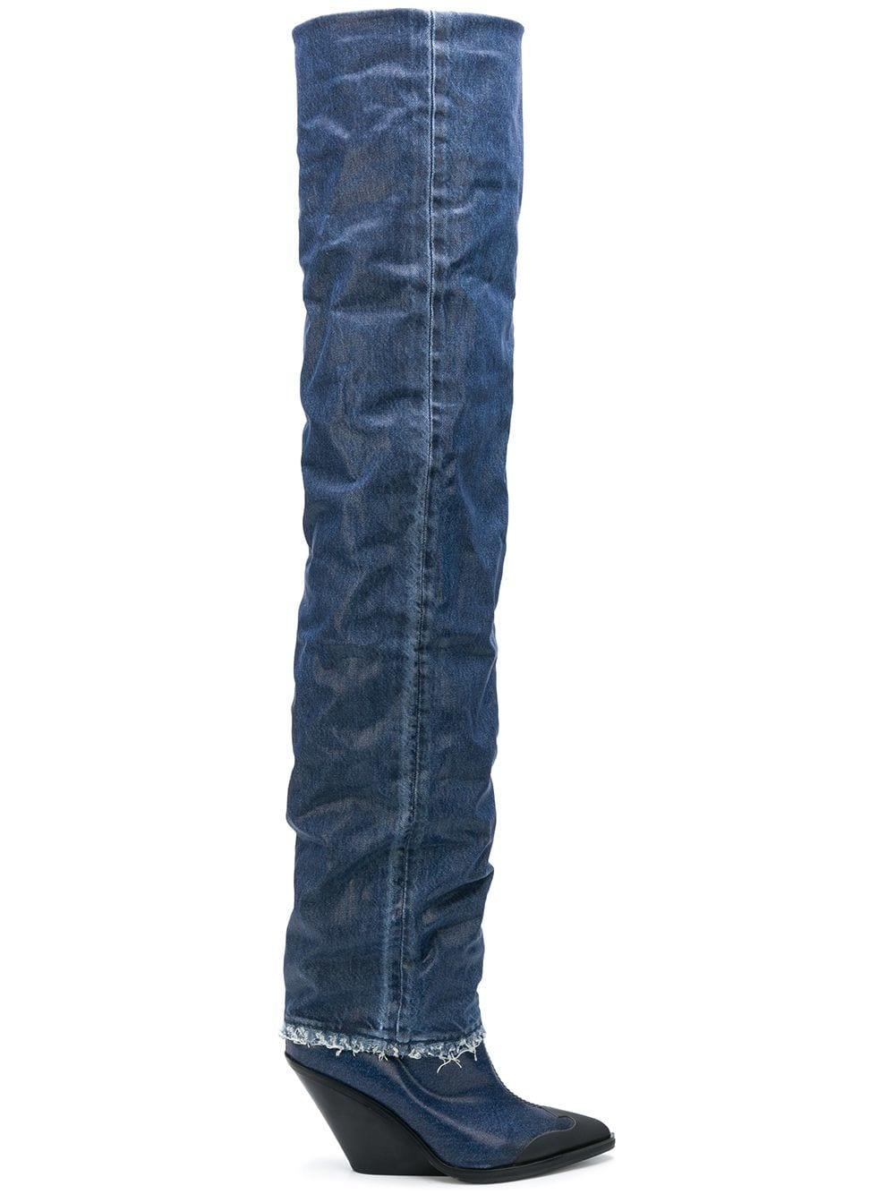 Diesel Overknee-Stiefel aus Denim - Blau