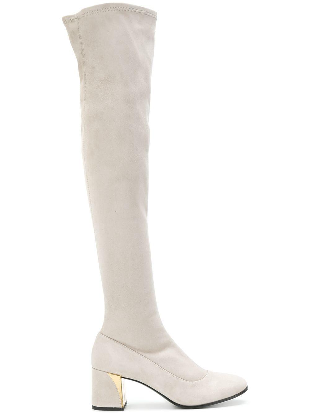 Fabi Overknee-Stiefel aus Wildleder - Grau