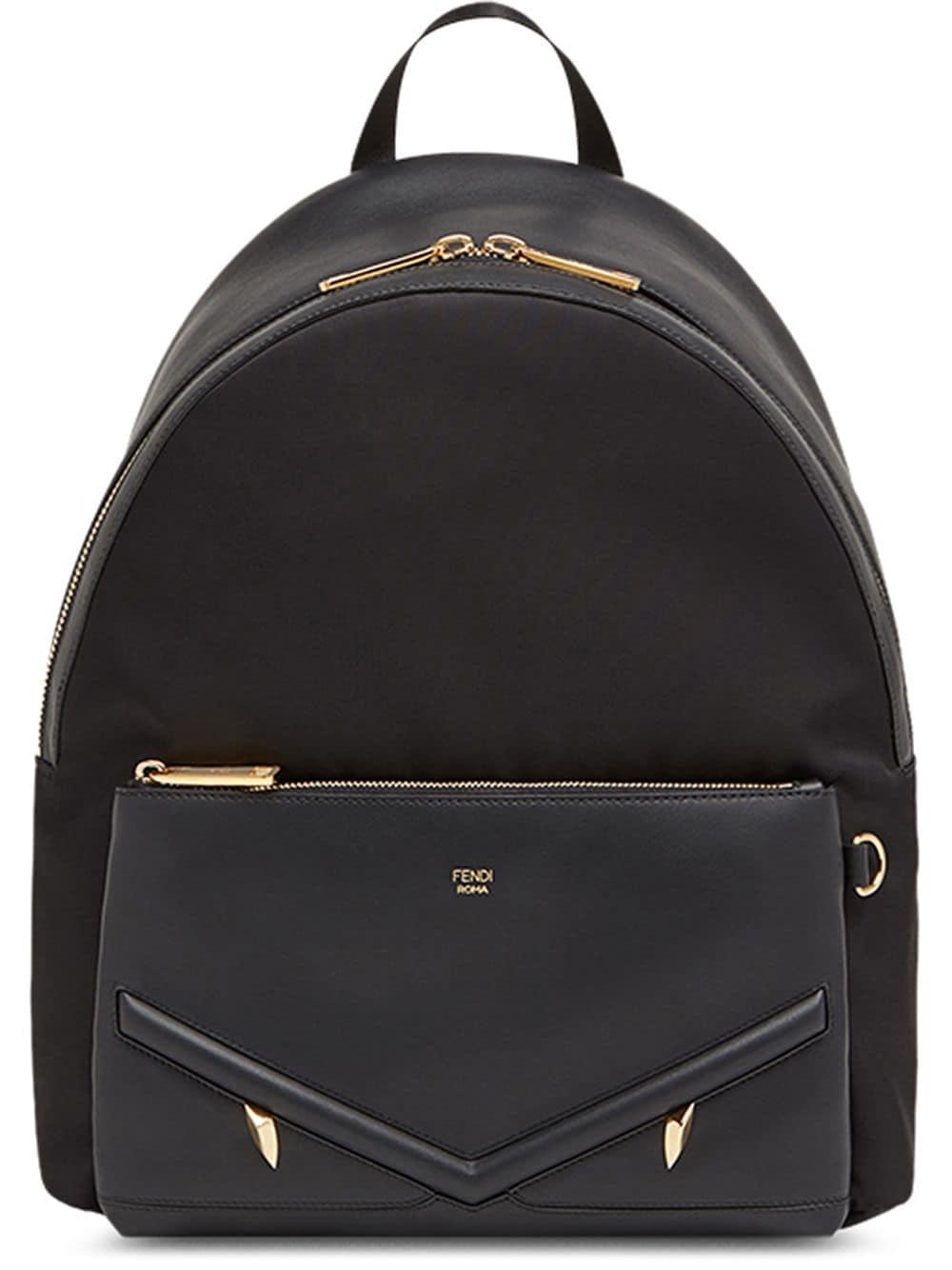 Fendi Rucksack mit aufgesetzter Tasche - Schwarz