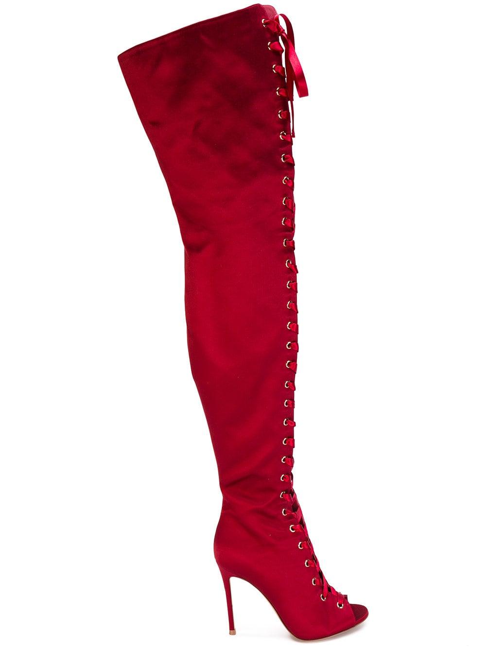Gianvito Rossi 'Marie' Overknee-Stiefel - Rot