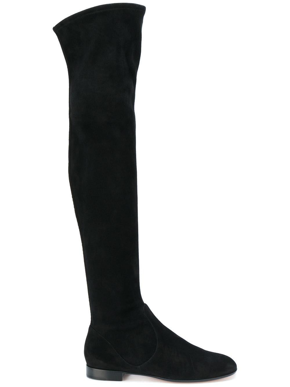 Gianvito Rossi Overknee-Stiefel mit runder Kappe - Schwarz