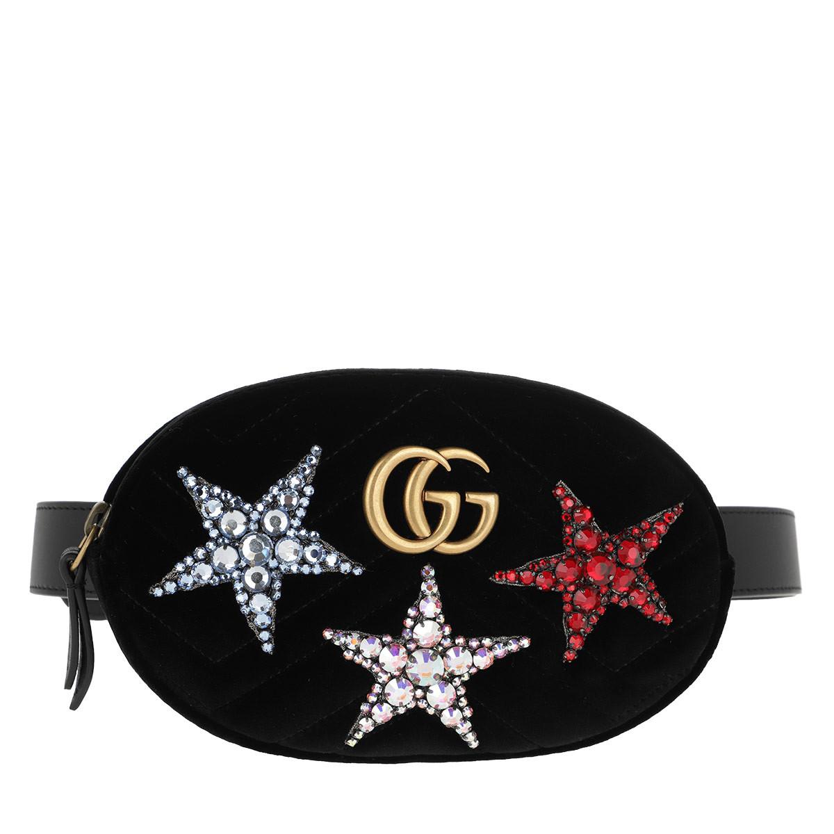 Gucci Gürteltasche - GG Marmont Velvet Belt Bag Stars Black - in schwarz - für Damen