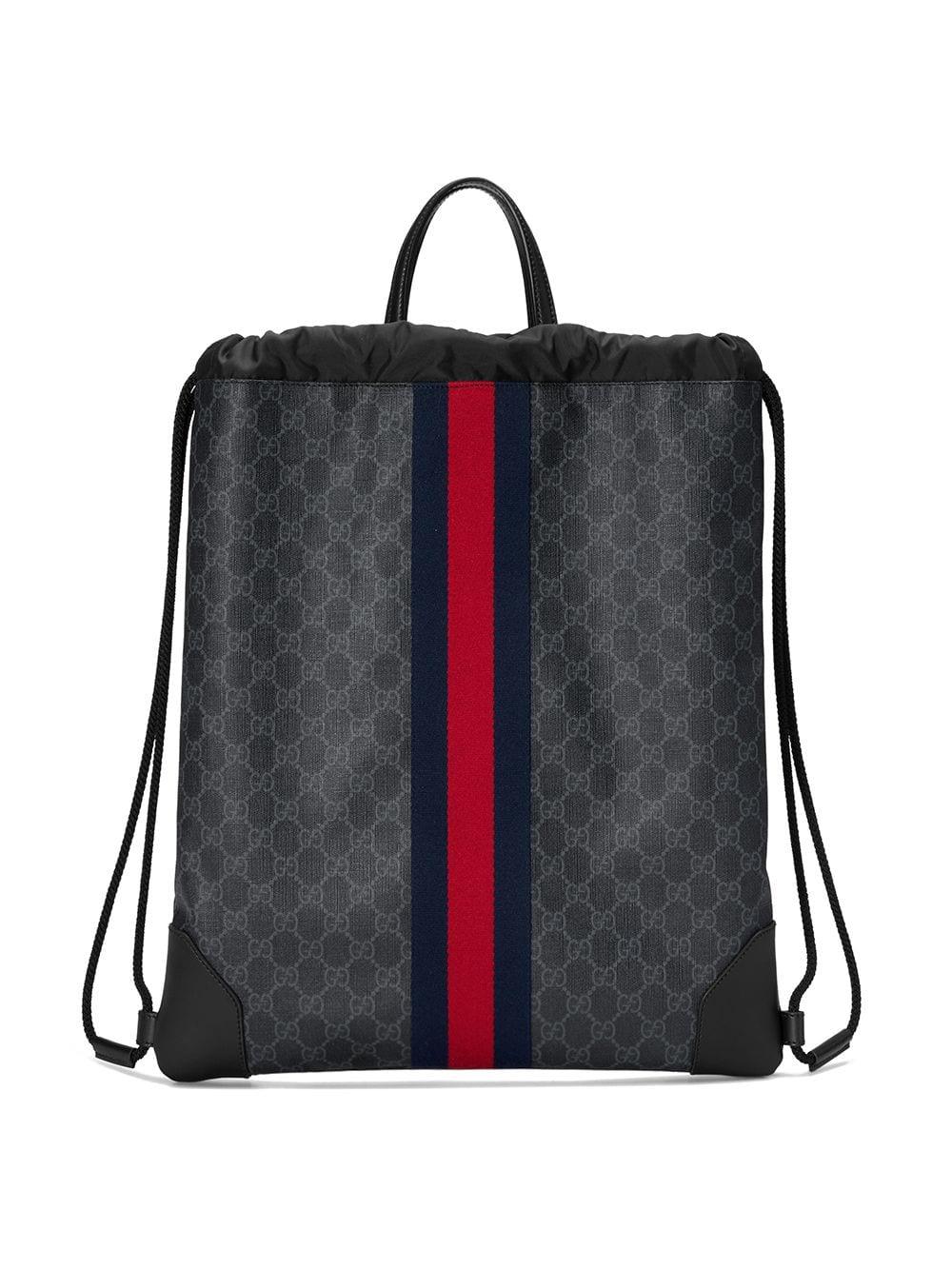 Gucci 'GG Supreme' Rucksack mit Kordelzug - Schwarz