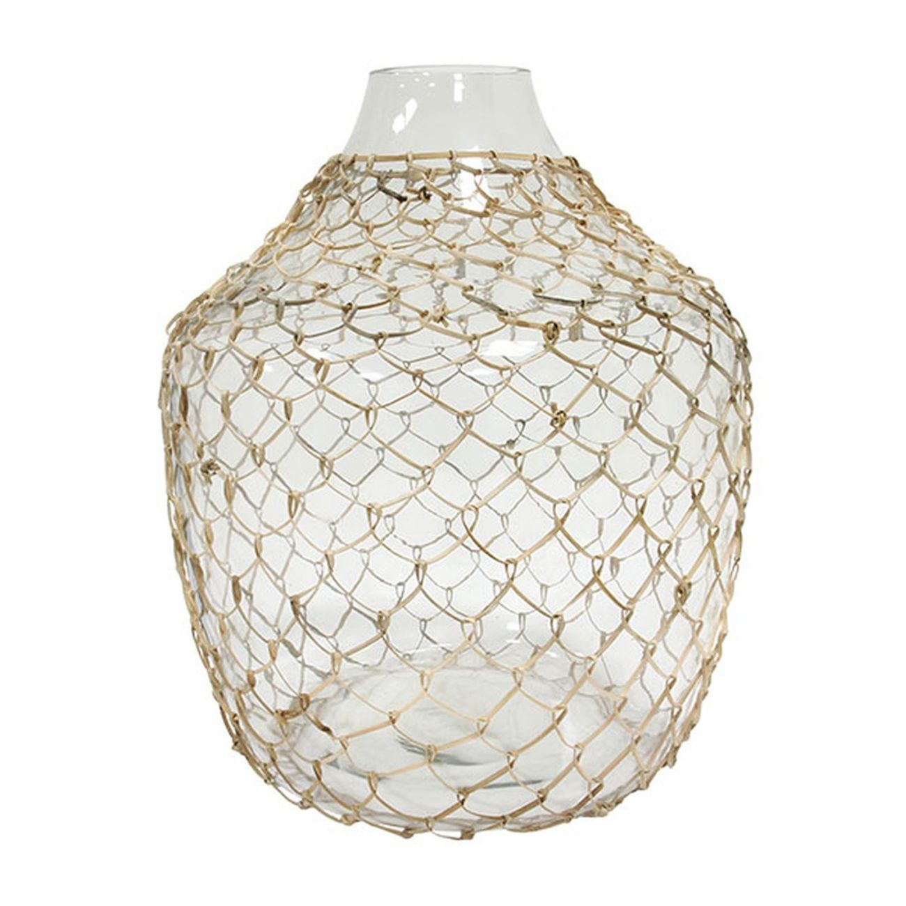 HK living wicker glass Vase