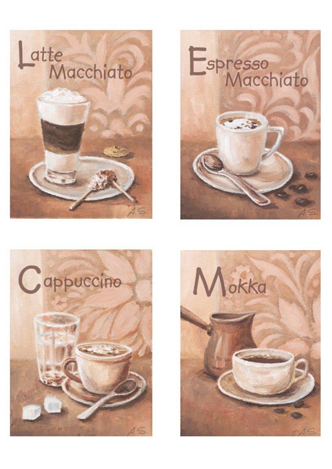 "Home affaire Wandbild ""Kaffeevariationen I"", (Set), 4x 17/23 cm"