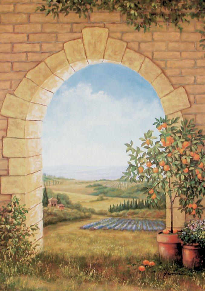 """Home affaire Wandbild """"Orangenbaum vor'm Torbogen"""", Baum, 58/79 cm"""
