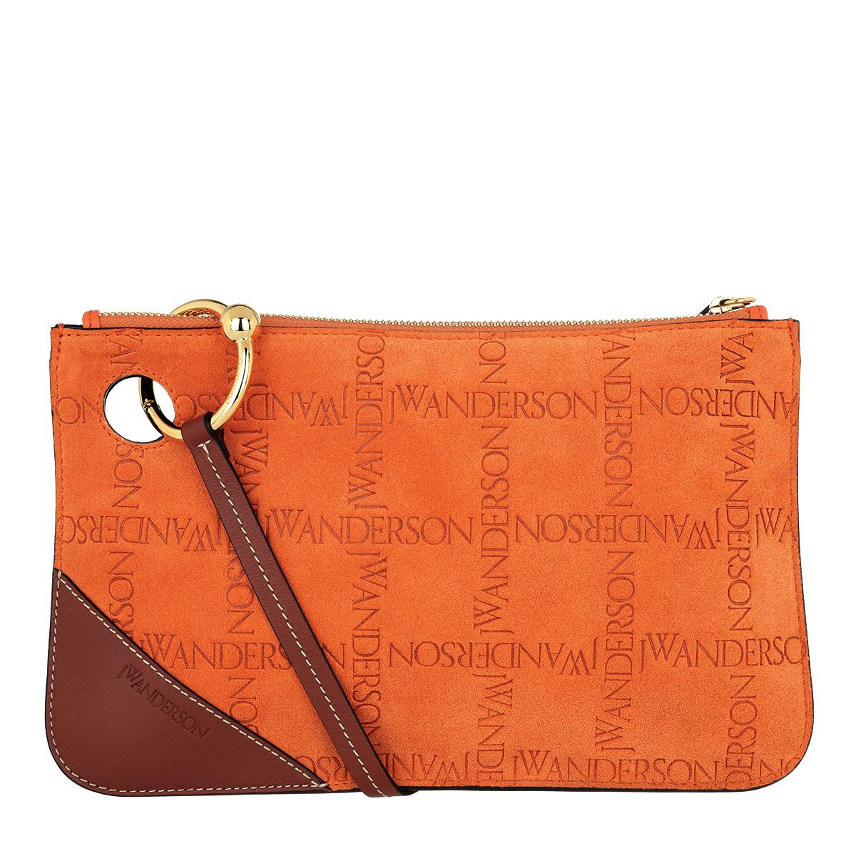J.W.Anderson Clutch - Embossed Clutch Suede Burnt Orange - in orange - für Damen