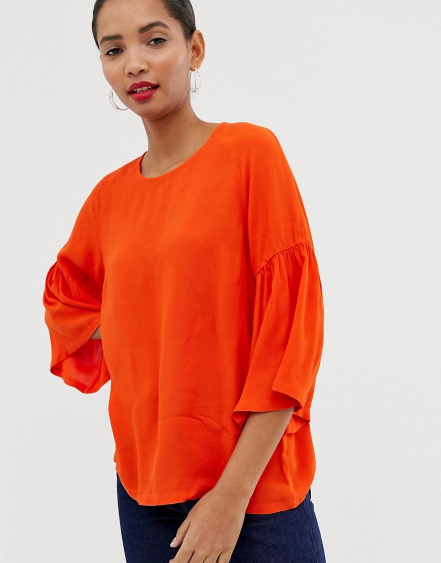 Just Female - Garner - Bluse mit Trompetenärmeln - Orange