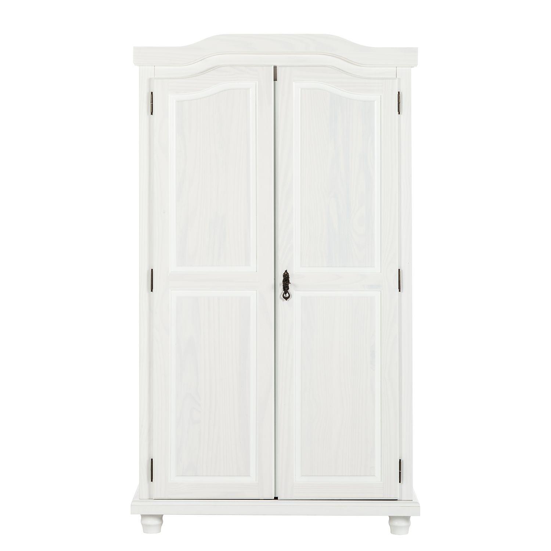 Kleiderschrank Hedda - Kiefer massiv - Weiß lackiert, home24