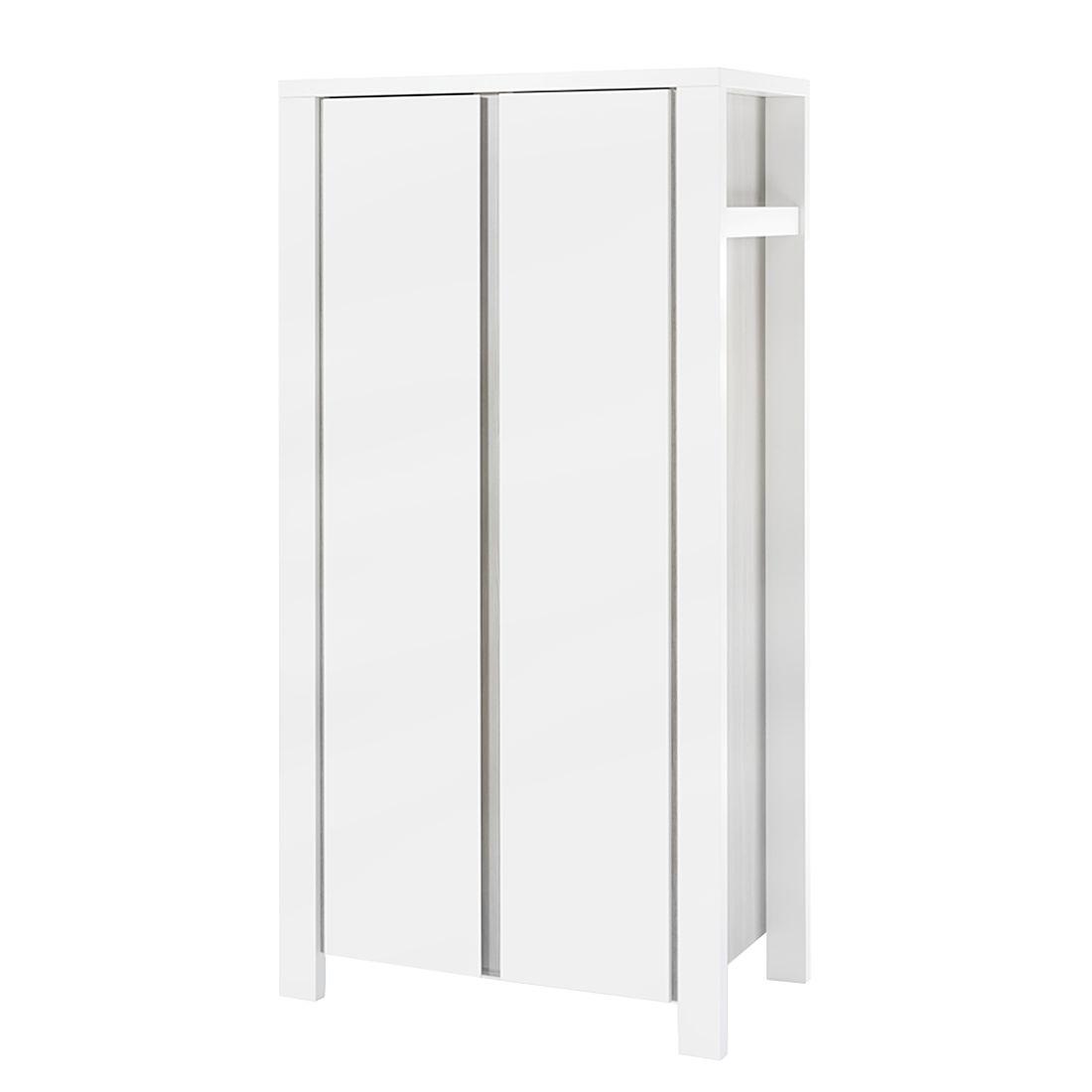 Kleiderschrank Milano - Pinie Silber Dekor/Weiß - 110 cm (2-türig), Schardt
