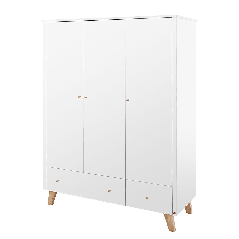 Kleiderschrank Pan Kids - Weiß / Eiche - 145 cm (3-türig), Pinolino
