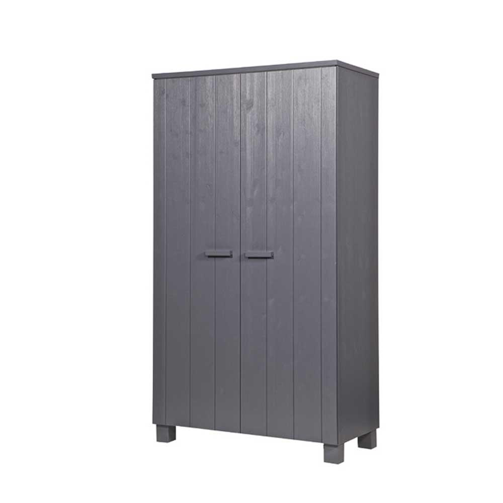 Kleiderschrank in Grau Kiefer Massivholz