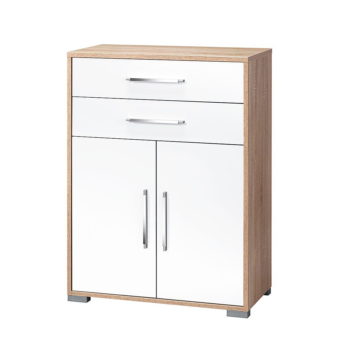 Kommode Merit - Hochglanz Weiß/Eiche Sonoma Dekor, Maja Möbel