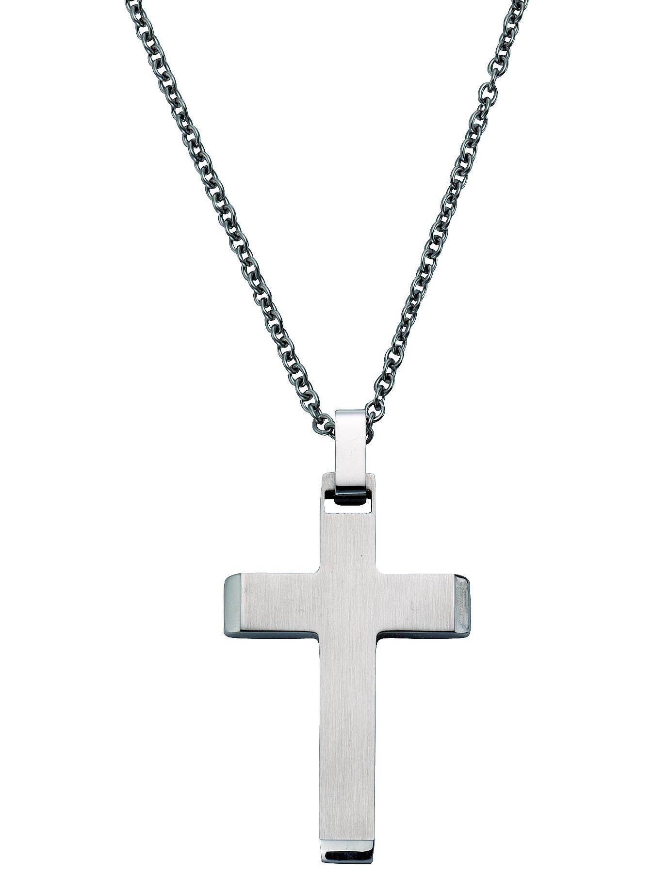 Kreuz-Anhänger mit Gravur und Kette KLiNGEL Weiß
