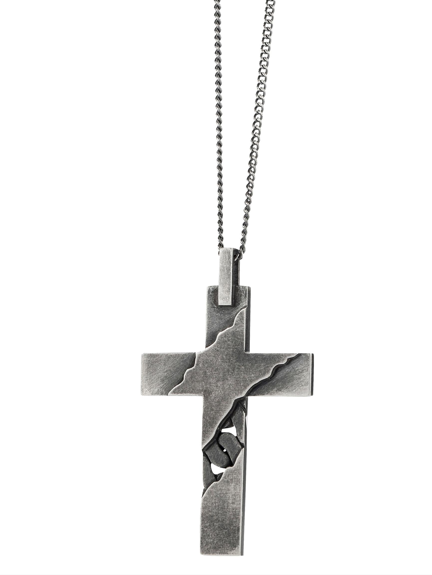 Kreuz-Anhänger mit Kette CAI Grau