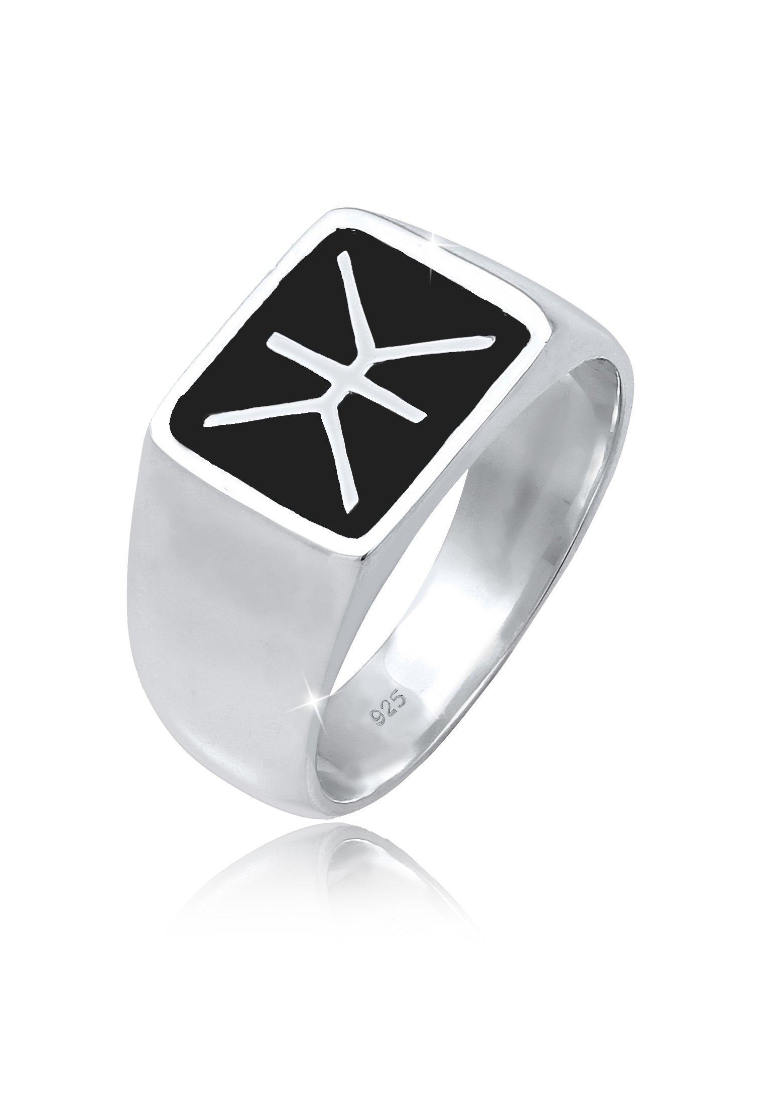 Kuzzoi Silberring Herren Siegelring Emaille Logo Basic 925er Silber