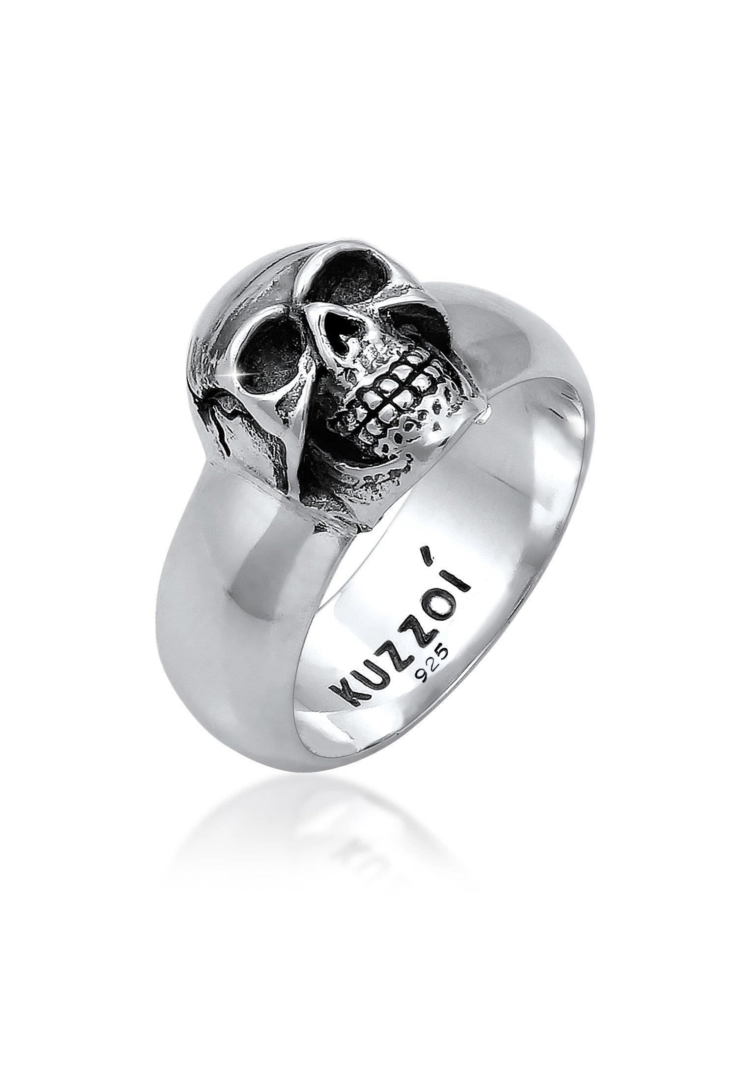 Kuzzoi Silberring Herren Siegelring Totenkopf Oxidiert 925er Silber