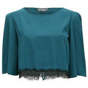 LOVE Women's Lace Edge Tie Back Crop Top - Blue - S-M - Blau