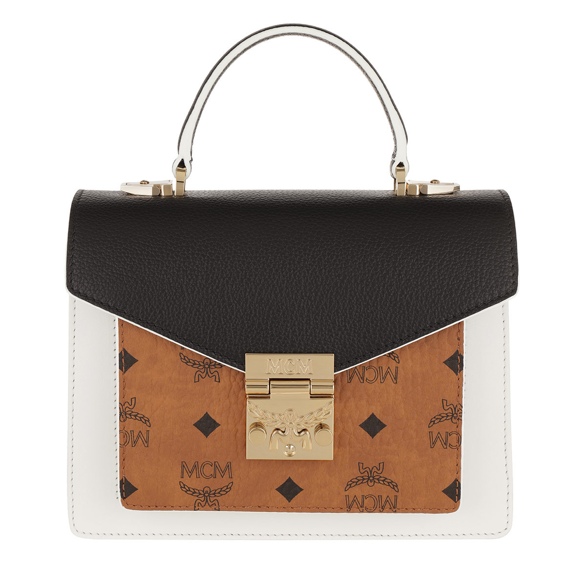 MCM Satchel Bag - Patricia Visetos Leather Block Satchel Small Cognac/Black - in weiß - für Damen