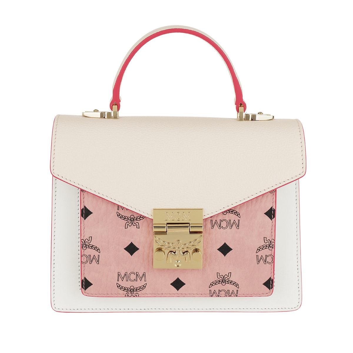 MCM Satchel Bag - Patricia Visetos Leather Block Satchel Small Soft Pink/Shell - in rosa - für Damen