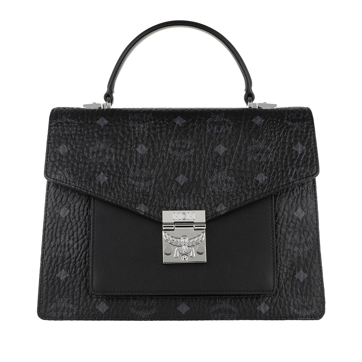 MCM Satchel Bag - Patricia Visetos Satchel Medium Black - in schwarz - für Damen