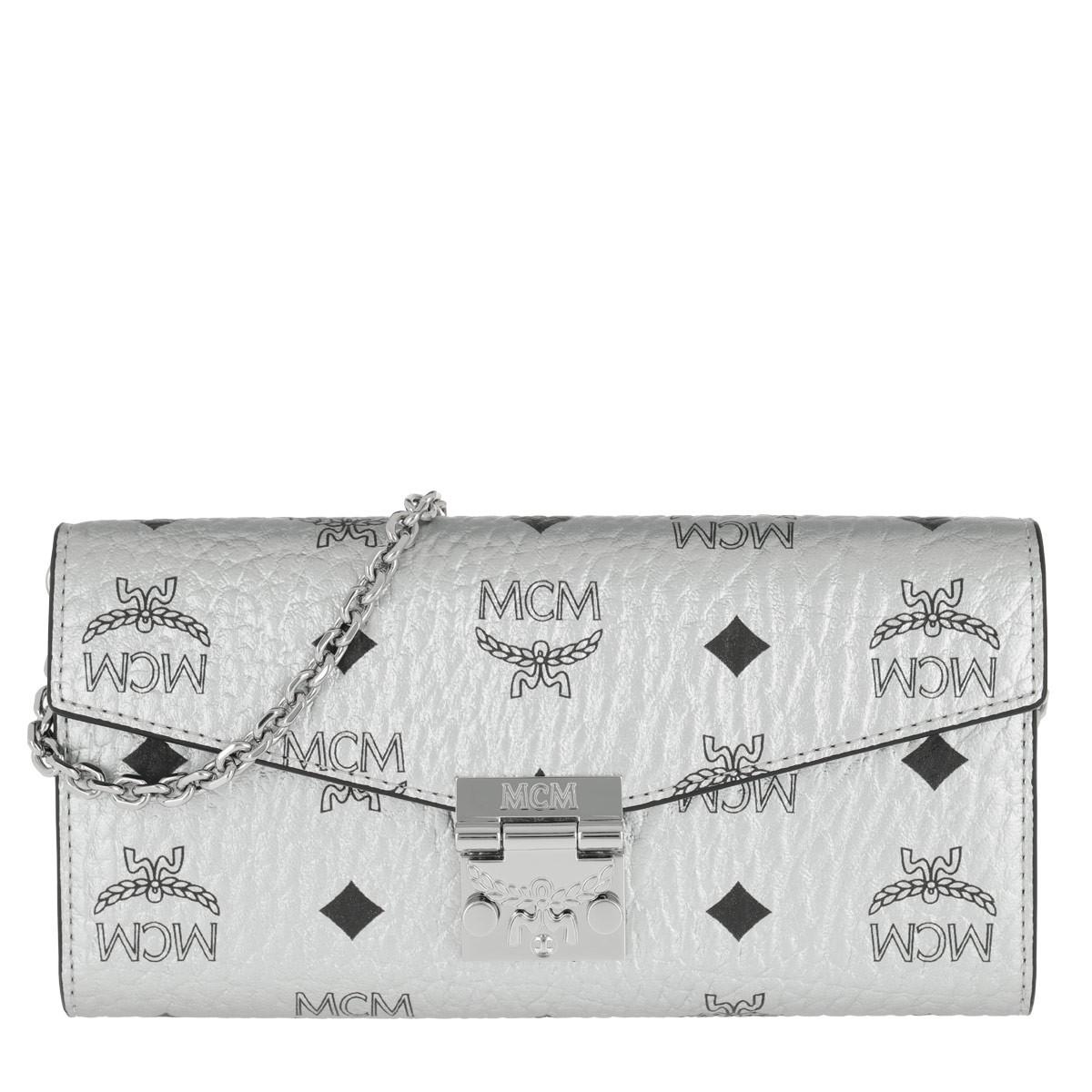 MCM Umhängetasche - Patricia Visetos Flap Wallet Berlin Silver - in silber - für Damen