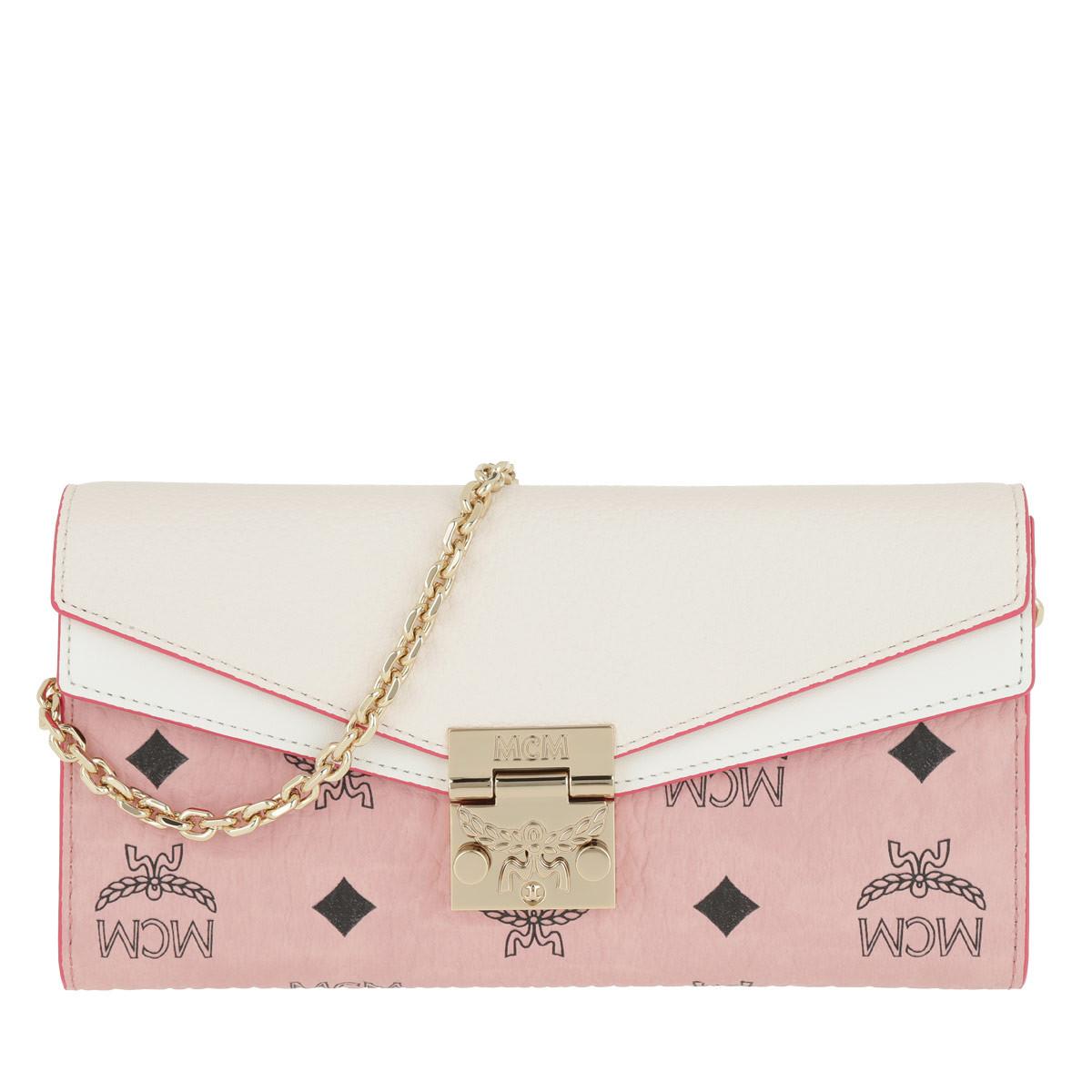 MCM Umhängetasche - Patricia Visetos Leather Block Flap Wallet Soft Pink/Shell - in rosa - für Damen