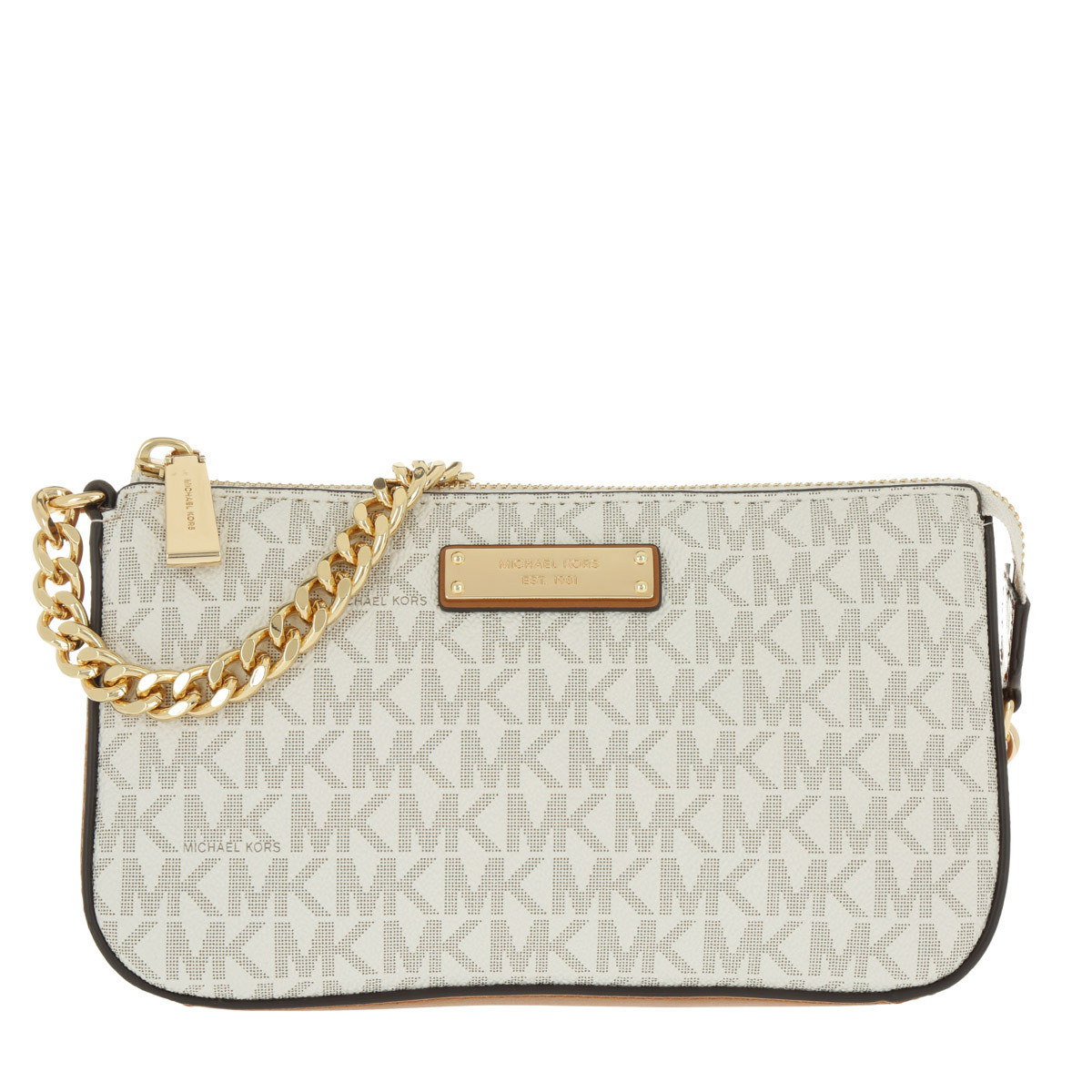 Michael Kors Clutch - Medium Chain Pouchette Vanilla - in beige - für Damen