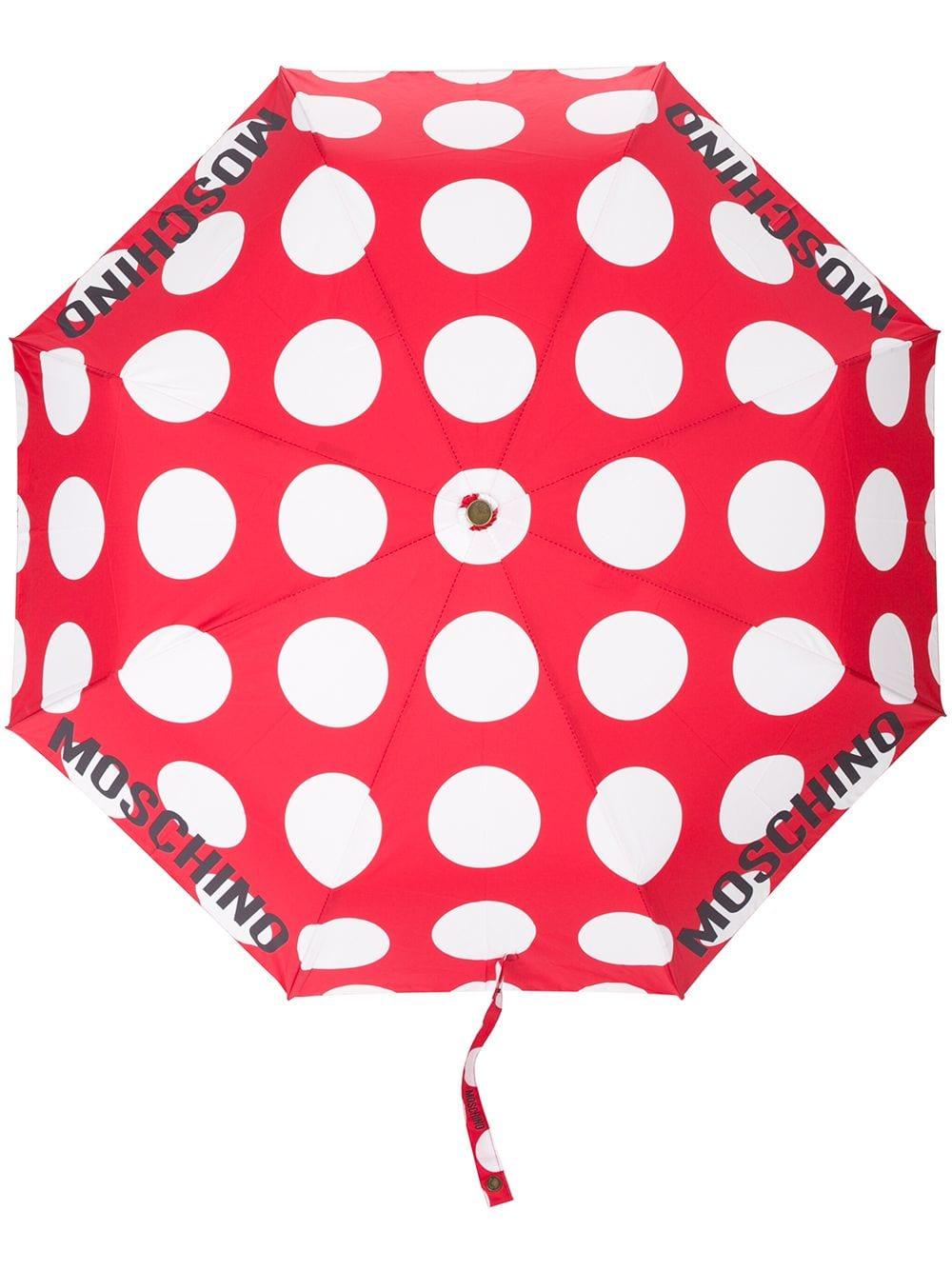 Moschino Gepunkteter Regenschirm - Rot
