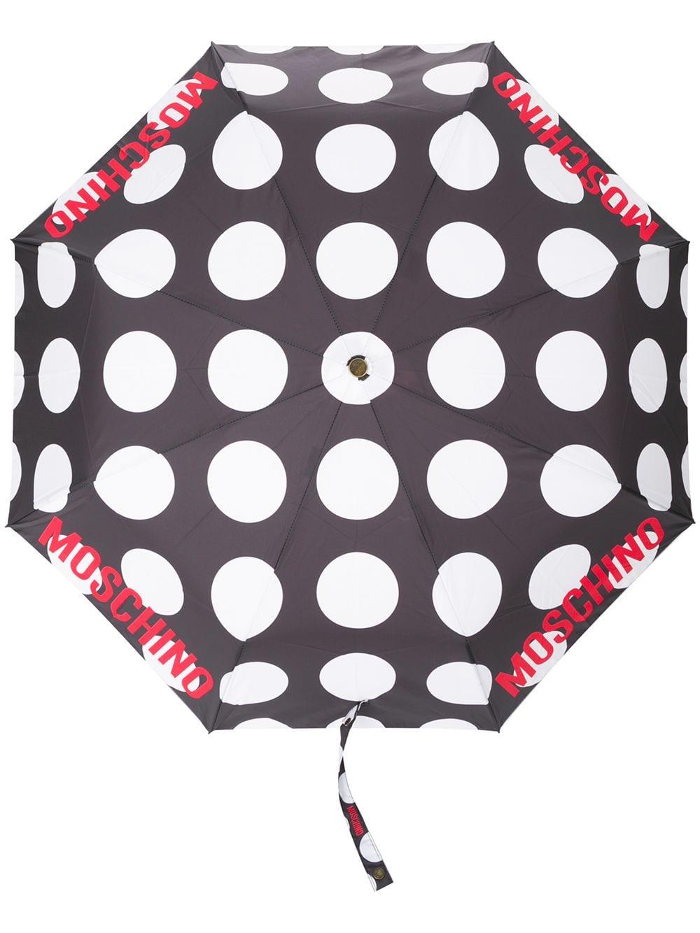 Moschino Gepunkteter Regenschirm - Schwarz