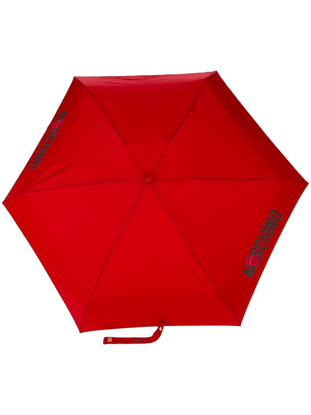 Moschino Regenschirm mit Logo-Print - Rot