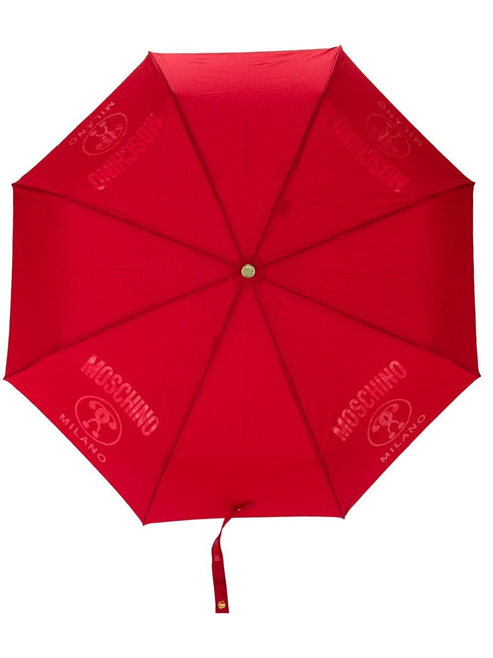 Moschino Regenschirm mit Logo - Rot