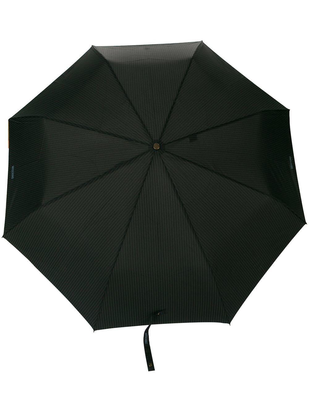 Moschino Regenschirm mit Nadelstreifen - Schwarz