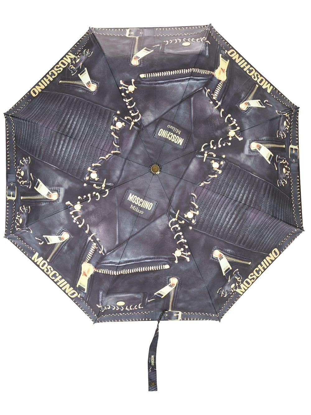 Moschino Regenschirm mit Print - Schwarz
