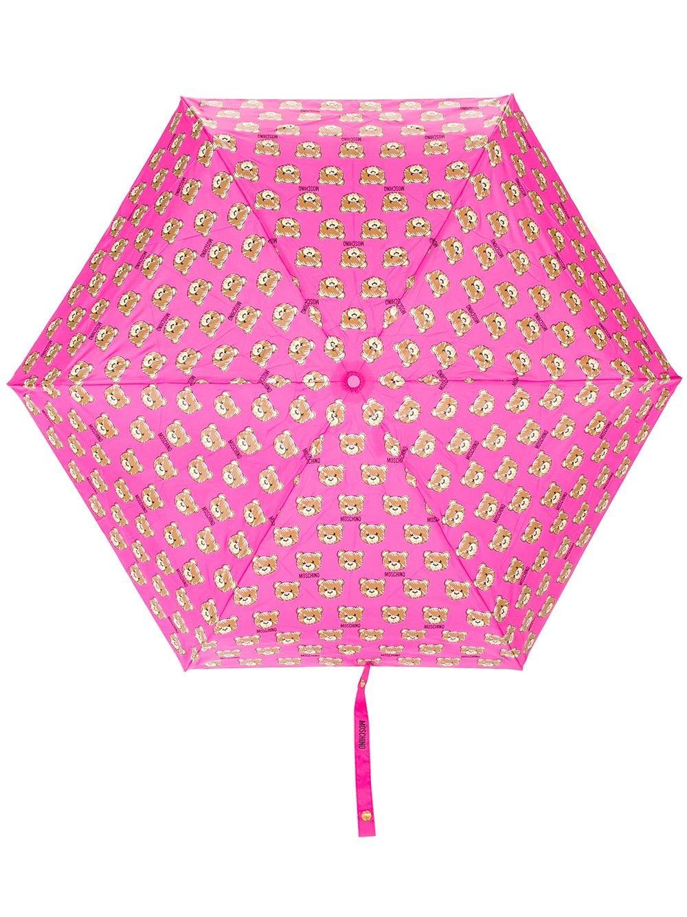 Moschino Regenschirm mit Teddybären-Print - Rosa