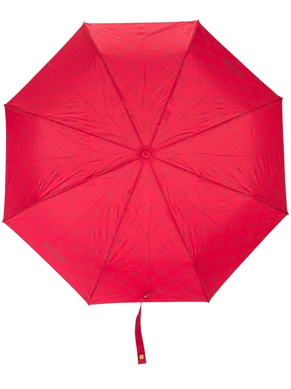 Moschino Regenschirm mit Teddybären-Print - Rot